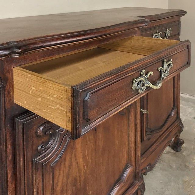 Gold Antique Country French Louis XV Step-Front Buffet For Sale - Image 8 of 13