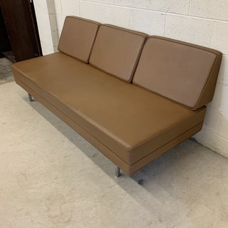 Mid Century Modern Vinyl Hassock Sofa Bench Preview