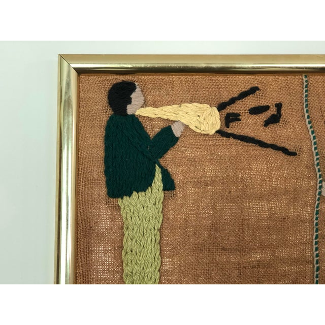 Tan Mid-Century Embroidered Tapestry of Musicians For Sale - Image 8 of 13