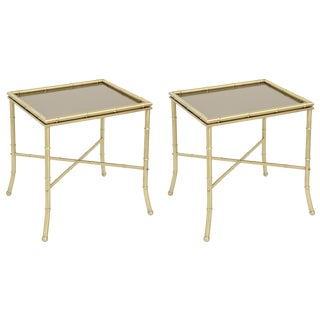 1960s Hollywood Regency Brass Side Tables - a Pair For Sale