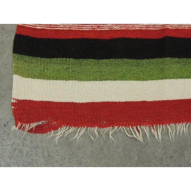 Large Vintage Woven Peruvian Throw With Fringes For Sale - Image 4 of 6