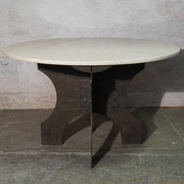 Brutalist Iron X-Base Dining Table For Sale - Image 3 of 7