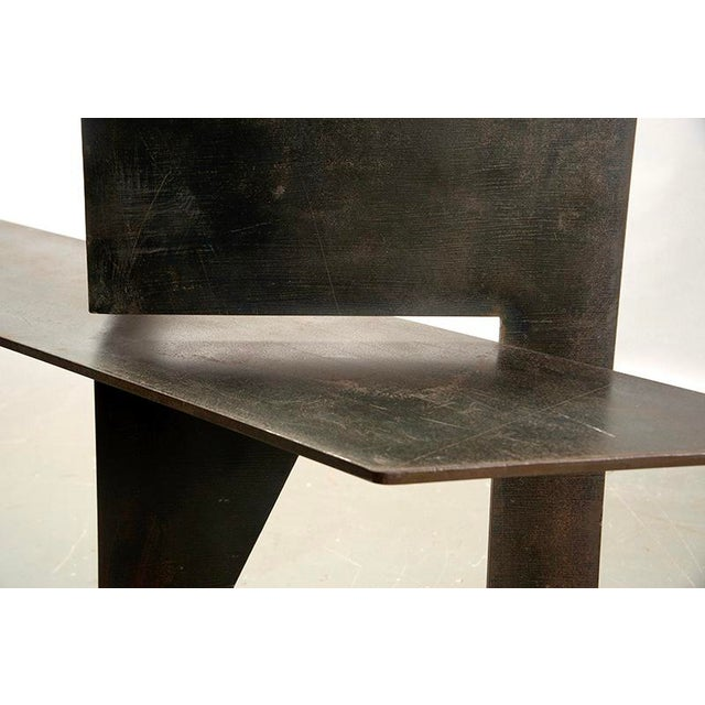 Found in Italy, this Brutalist style console has an iron base and thick glass top with polished edges, circa 1970s....