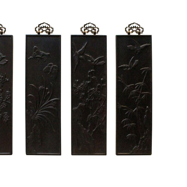 Chinese Set of 4 Birds & Flowers Wood Decor Wall Panels For Sale - Image 4 of 8
