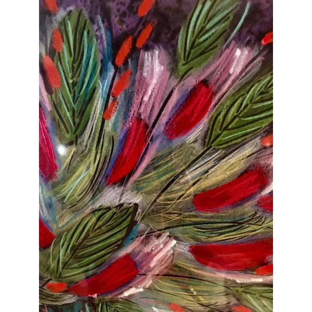 1991 Original Penny Feder Expressionist Floral Monotype Painting- Vintage/Signed For Sale - Image 9 of 13