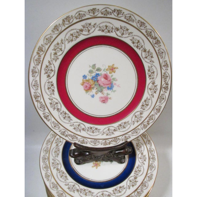 """Beautiful set of 24 antique 9"""" dia fine ivory porcelain dessert or luncheon plates with pink cabbage rose and floral spray..."""