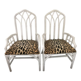 Vintage Mid Century Cathedral Style Bamboo Arm Chairs- A Pair For Sale