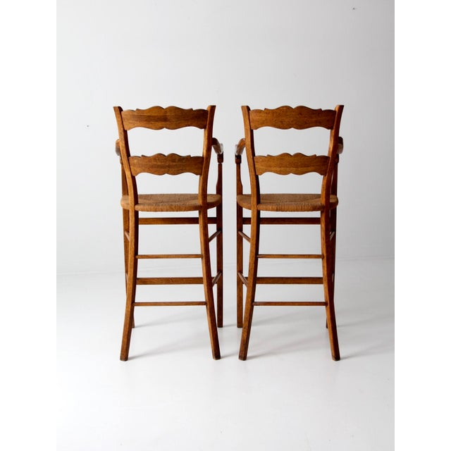 Vintage High Back Bar Arm Stools - A Pair - Image 6 of 7