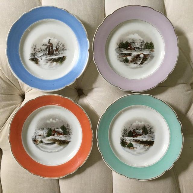 1940s Antique Decorative Porcelain Plates - Set of 4 For Sale - Image 9 of 10