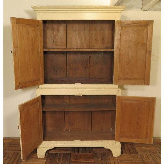 Antique English Painted Four Door Cupboard For Sale - Image 4 of 6