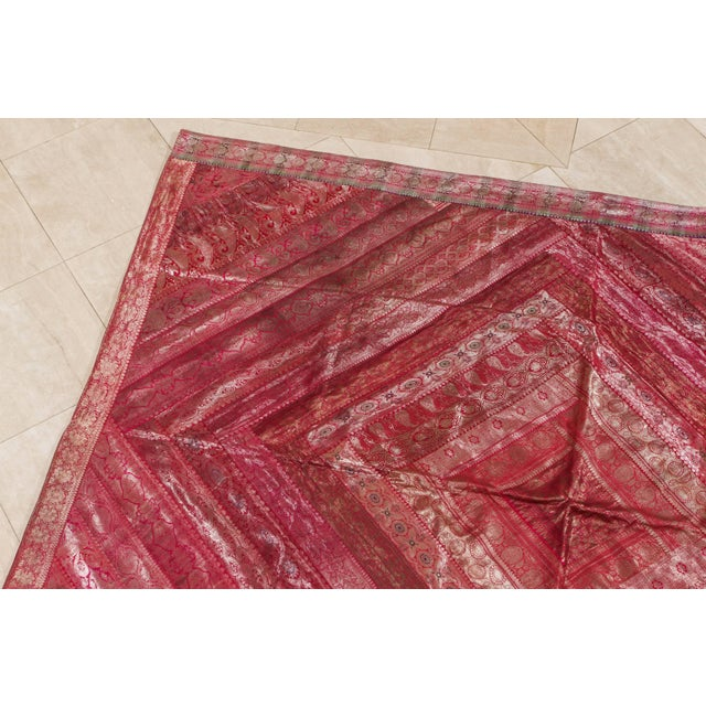 Indian silk sari tapestry quilt patchwork bedcover in fuchsia color. A king-size bedspread handcrafted from vintage...