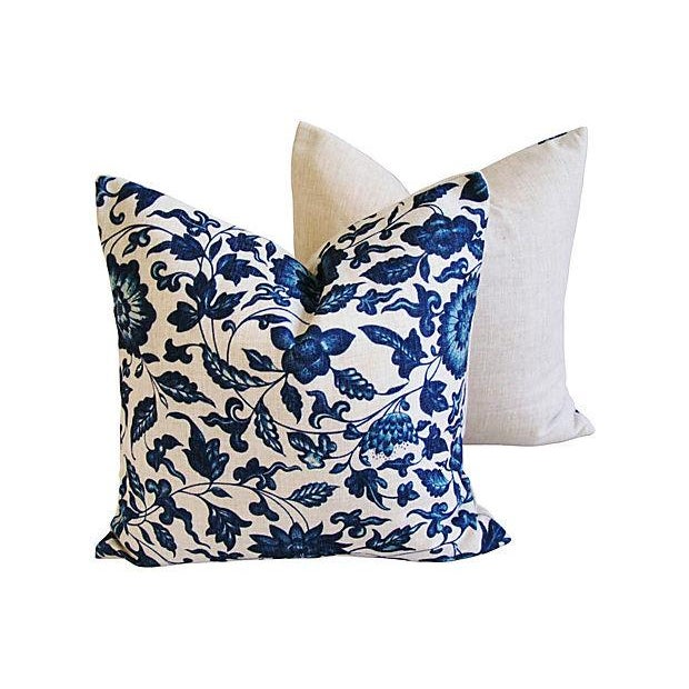 Late 20th Century Indigo & White Down & Feather Pillows - A Pair For Sale - Image 5 of 7
