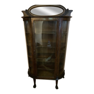 Antique Tiger Oak Victorian Bow Glass Curio Claw Foot China Cabinet For Sale