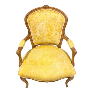 French Fauteuil in Fortuny Fabric For Sale