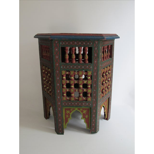 Boho Chic Moroccan Green & Red Carved Wood Side Table For Sale - Image 3 of 9