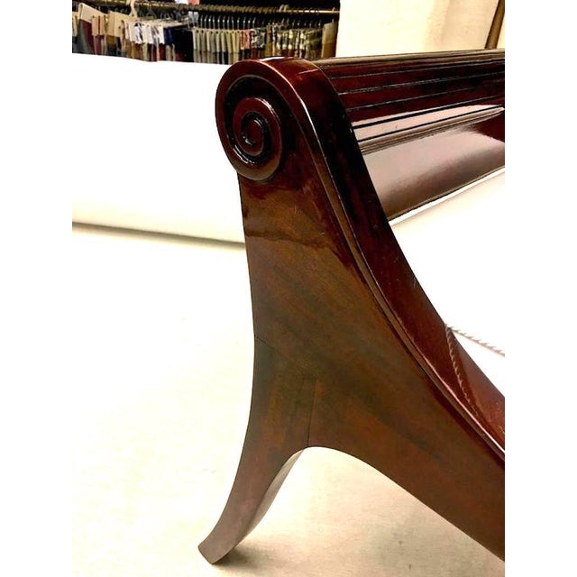 Art Deco Pair of Neoclassic Refined Solid Rosewood Stools For Sale - Image 3 of 8