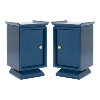 Asian Style Petite Nightstands With Brass Pulls in Marine Blue Lacquer, Pair For Sale