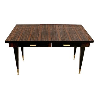 1940s French Art Deco Macassar Ebony Writing Desk For Sale
