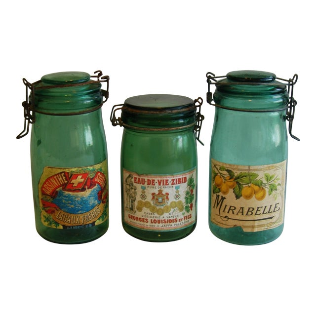1930s French Canning Preserve Jars - Set of 3 - Image 1 of 8