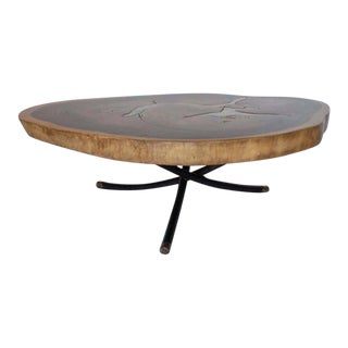 Free Form Organic Shape Coffee Table with Bronze Inlay By Dos Gallos Studio For Sale