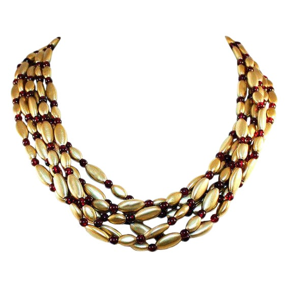 Vintage Nina Ricci Gold-Plated Sterling Silver and Garnet Bead Necklace For Sale