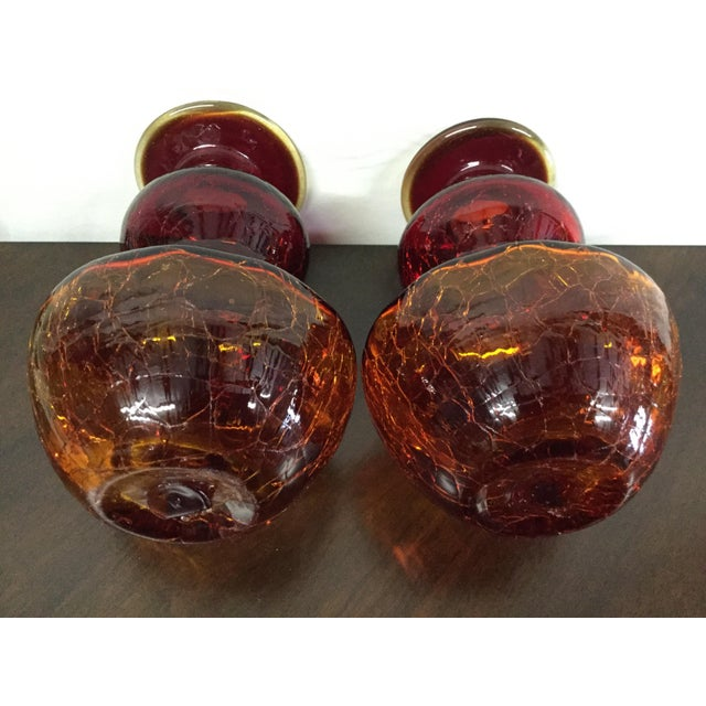 Amberina Crackle Glass Vases - A Pair - Image 4 of 4