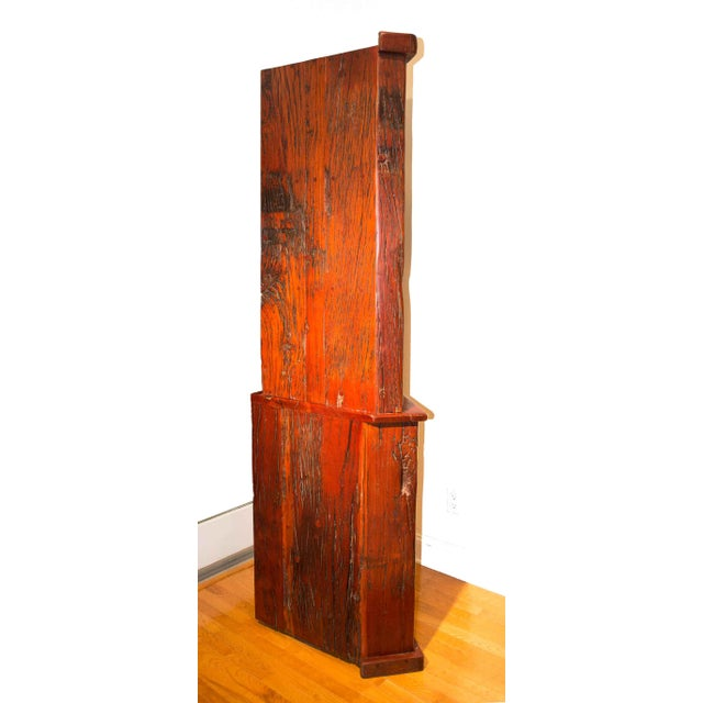 Wood Antique Railroad Hand Carved Red Jarrah Wood Corner Bookcase For Sale - Image 7 of 13