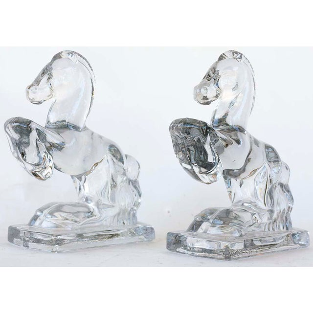 L.E. Smith Rearing Horse Glass Bookends - a Pair - Image 2 of 5
