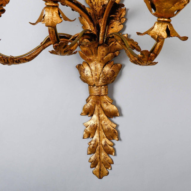 Pair of Tall Five-Light Gilt Metal Leaf Form Sconces For Sale - Image 9 of 9