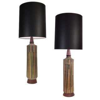 Tall Striking Aldo Londi Table Lamp For Sale