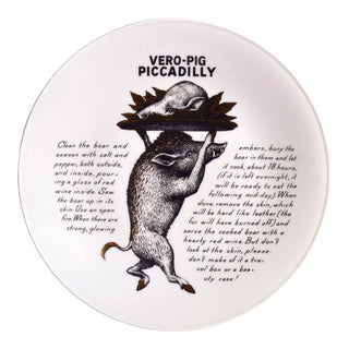 Piero Fornasetti Fleming Joffe Porcelain Recipe Plate, Vero-Pig Piccadilly, the 1960s. For Sale