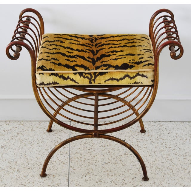 1950s vintage Italian gold gilt scrolled metal vanity bench/stool with a custom-tailored removable cushion in new...