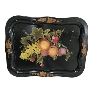 Vintage Hand Painted Fruit Black Tole Serving Tray For Sale