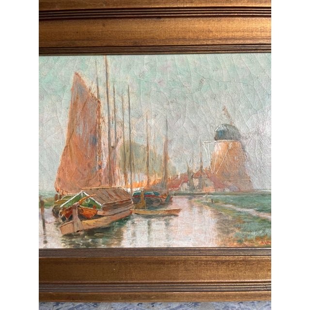 Canvas 19th Century Dutch Oil Painting of a Canal Scene in the Polders, Framed For Sale - Image 7 of 11