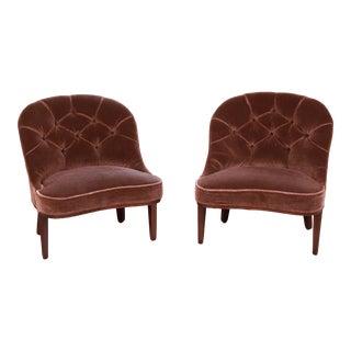 Edward Wormley for Dunbar Janus Collection Mohair Velvet Slipper Chairs, Pair For Sale
