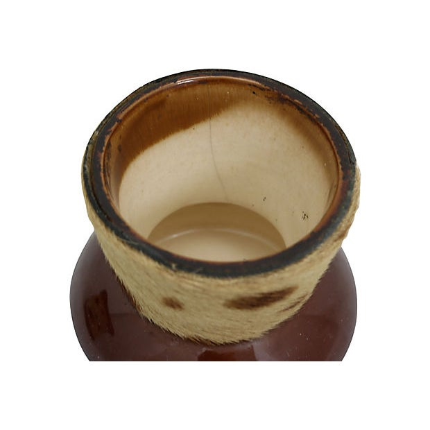 Cabin Midcentury French Cow Hide Tobacco Jar For Sale - Image 3 of 5