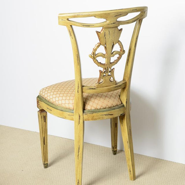 Italian Louis XVI Style Painted and Gilt Wood Chairs, Set- of 4 For Sale - Image 4 of 13