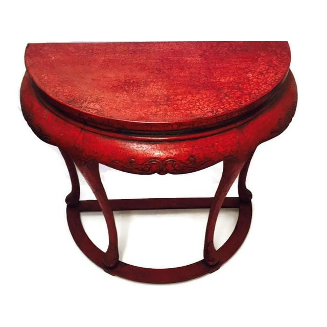 Chinoiserie Red Demilune Console Tables - a Pair - Image 3 of 10