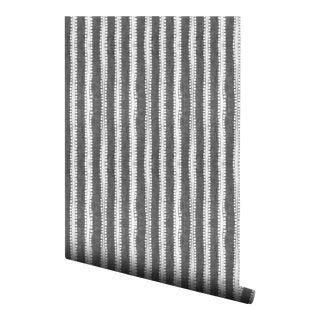 Japanese Gray Vertical Stripe Pre-Pasted Wallpaper - 2 Piece Set For Sale