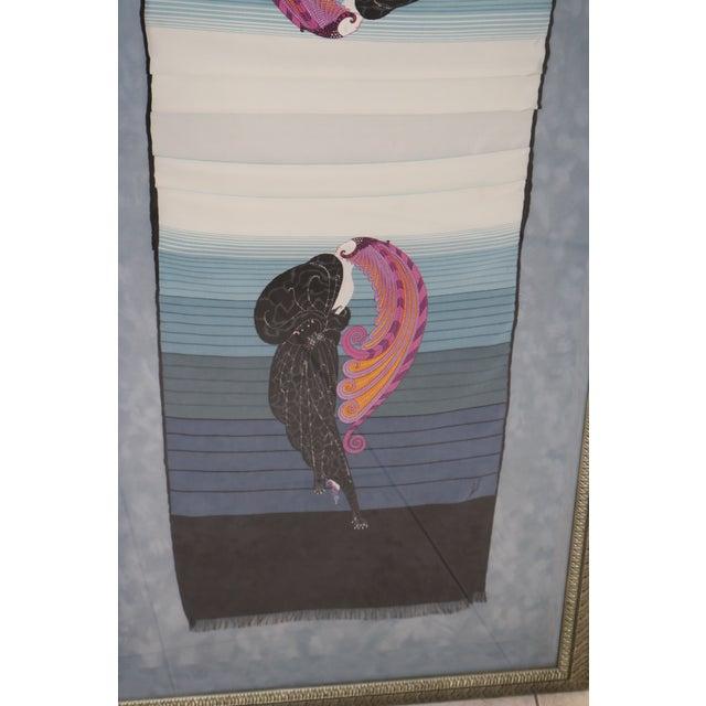 Erté Vintage Framed Erte Beauty & Beast Silk Scarf For Sale - Image 4 of 10