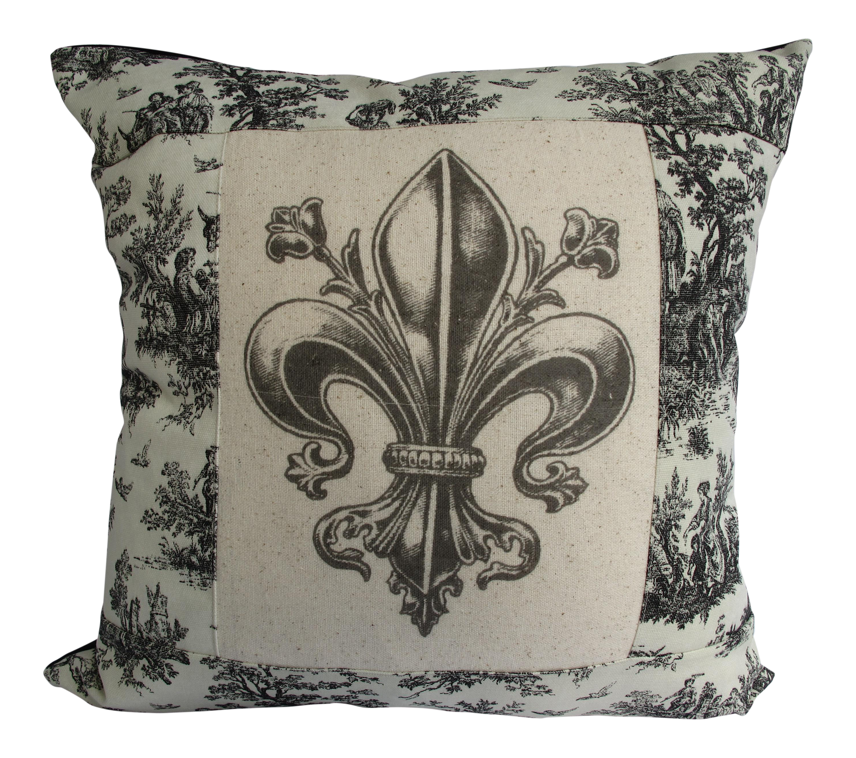 French Country Style Toile Fleur De Lis Pillow Chairish