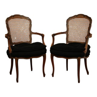 1950s French Louis XV Style Custom Quality Cane Back Pair Fauteuil Armchairs For Sale