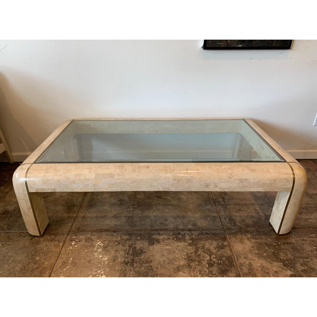 Maitland-Smith RectangleTessellated Stone & Brass Glass Top Coffee Table For Sale - Image 10 of 10