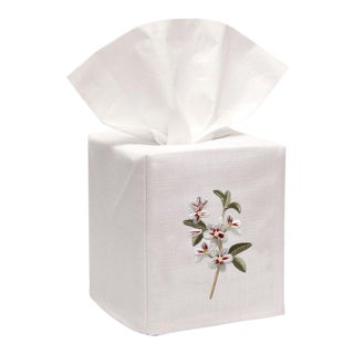 Apple Blossom Tissue Box Cover in White Linen & Cotton, Embroidered For Sale