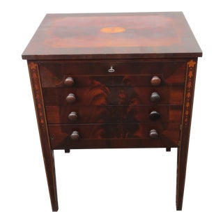Victorian Flame Mahogany Inlay Sewing Table Side End Table Nightstand For Sale