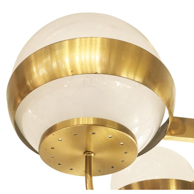 Mid-Century Modern Brass Chandelier by Lamperti, Italy, 1960s For Sale - Image 3 of 7