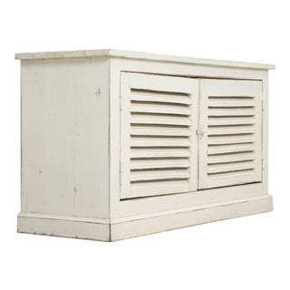 Country French Louvered Cabinet or Low Buffet For Sale