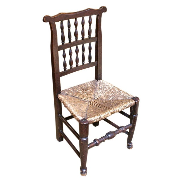 18th Century 1780 English Oak & Rush Seat Chair For Sale - Image 5 of 5