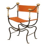 Image of 19th Century Italian Wrought Iron, Bronze and Tan Leather Campaign Armchair For Sale