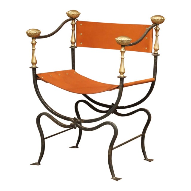 19th Century Italian Wrought Iron, Bronze and Tan Leather Campaign Armchair For Sale